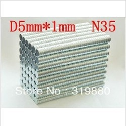 300-pack super Powerful n35 NdFeB magnet Neodymium Magnets 5*1mm Free shipping(China (Mainland))