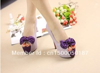 2013 fashion Purple ol sexy silk bowtie open toe women's shoes thin heels high-heeled platform pumps ladies wedding shoes