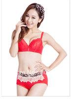 factory price!fashion cotton women's sexy bra +random briefs ,sexy bra and briefs lingeire,ladies barasiere, closure6067-red