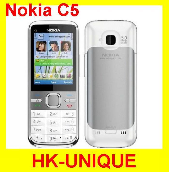 C5 Original Nokia C5-00 GPS 3.15MP 3G Bluetooth Unlock Cellphone Free Shipping russian keyboard &menu(China (Mainland))
