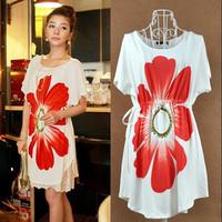 Summer new arrival high quality silk drawstring belt big flower print one-piece dress white free shipping