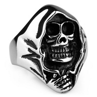 Tidal current male titanium ring personalized stainless steel skull ring ve426