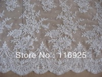 New Design Corded French Lace Fabric ,Ivory Color ,15 yards/lot