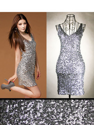 Shiny Glitter Sequin V-Neck Bodycon Clubwear Party Prom Cocktail Mini Dress(China (Mainland))