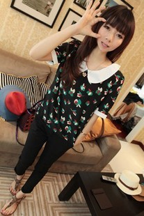 Spring women's 2013 vintage peter pan white collar ol leaves doll chiffon shirt m16(China (Mainland))