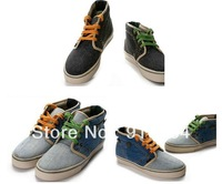 Men's Colorblock Warm Flats High Rise Sneakers Loafers Canvas Shoes Lace Up Boot