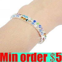 (Min order $5,can mix) Shiny Colorful Double Rows Crystal Bracelets Rhinestone Springy Bracelet Free Shipping