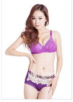 factory price!fashion cotton women's sexy bra +random brief ,sexy bra and briefs lingeire,ladies barasiere, closure6073-purple