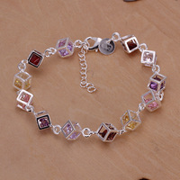 H220 Free Shipping silver plated 925  Bracelet Fashion Jewelry Bracelet The color Stone checkered bracelet