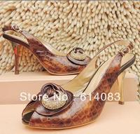 Special offer free shipping wholesale 2013 fashion women's classy&stylish rhinestones crocodile grain  cow leather high heels
