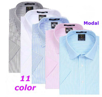 2013 new shirt cotton dress  men synthetic  brand business modal stripes short-sleeve  print  shirts  XS S M L XL XXL XXXL