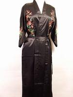 Black Silk satin Women Embroidery Robe Gown Kimono Bathrobe Sleepwear Size S M L XL XXL