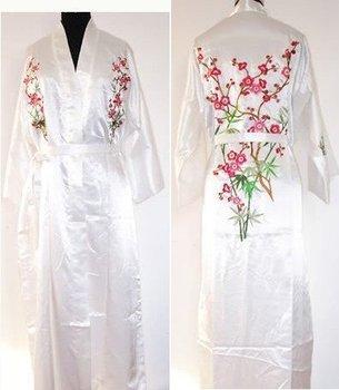 Белый Шелк Атлас Женщины Embroidery Robe Gown Kimono Bathrobe Sleepwear Размер S ...