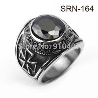 Fashion Finger Rings 316L Stainless Steel Black Zircon  Rivet  Biker Ring for Men Gift