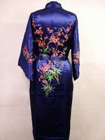 Navyblue Silk satin Women Embroidery Robe Gown Kimono Bathrobe Sleepwear Size S M L XL XXL
