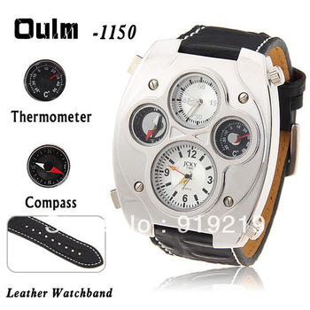 Oulm Military Men's Watch with Compass and Thermometer Function Silver Case Black 25mm Leather Band