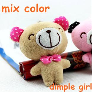 8pc/lot mini plush teddy bear mobile pendant small stuffed animals wholesalebirthday gift graduation souvenirs aliexpress.com(China (Mainland))