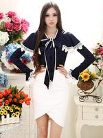 2012 women's autumn satin white laciness chiffon bow bandeaus long-sleeve shirt navy blue 8