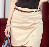 2013 women's slim bust skirt slim hip skirt pleated skirt women's irregular short skirt with belt