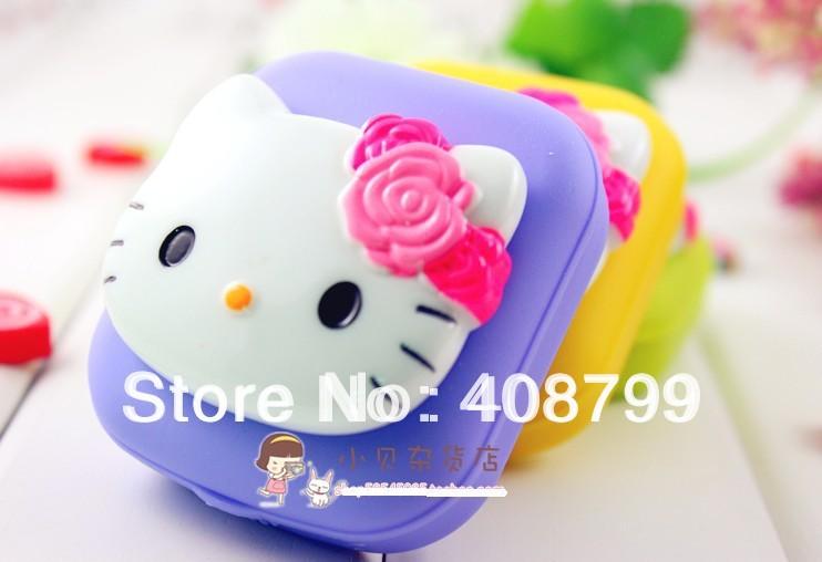 Freeshipping by DHL/Fedex 100pcs/lot New Fashion Cute contact lenses box/Hello kitty contact lens case/lens Companion box(China (Mainland))