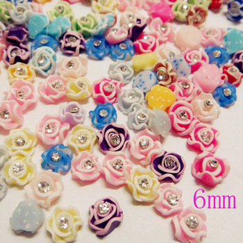 nail fimo  flowers  rose with rhinestones 150pcs mix 15 colors 6mm