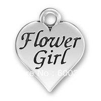 free ship 15pcs a lot alloy antique silver flower girl charm pendants jewelry
