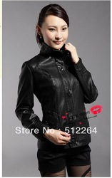 Hot!!2013 new brand fashion women sheepskin leather jacket motorcycle leather Women's clothes is free shipping(China (Mainland))