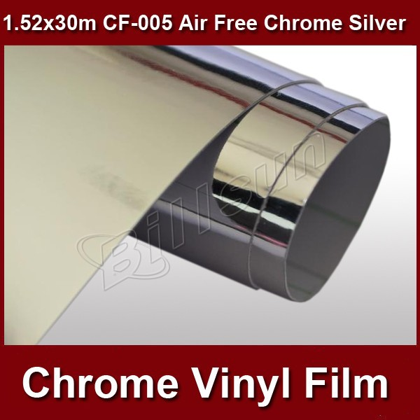one roll mirror chrome silver vinyl car wrapping film air bubble free 1.52mx30m CF-005 free shipping(China (Mainland))