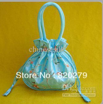 Cheap Handbags Purses Embroidered Silk Fabric Big Drawstring Bag 10pcs/lot mix color Free(China (Mainland))