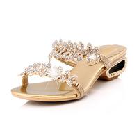 New arrival summer flower a rhinestone sandals sheepskin wedges female sandals gold shoes size 34-43