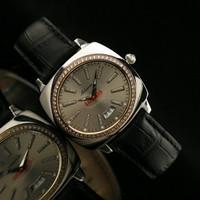 Personalized bucket grey dial scale diamond black strap quartz watch