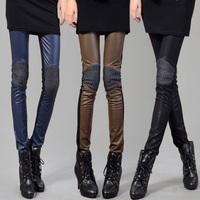 Mushroom autumn patchwork PU pants fashion legging pencil pants fashion pants trousers tights