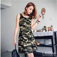 Spring new arrival 2013 the trend o-neck Camouflage slim waist women's clothing tank dress mushroom