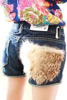 Clothes new arrival women's faux pocket the disassemblability distrressed slim denim shorts mushroom