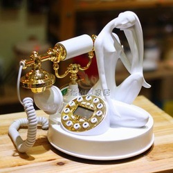 free shipping White lady phone tables placed beauty fashion telephone wired caller id(China (Mainland))