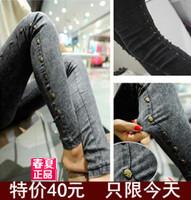 Spring rivet jeans female trousers skull pants legging pencil pants