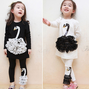 2013 spring and Autumn New Korean children girl baby Swan Princess Dress Leggings two suit