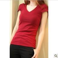 Fashion V-neck slim elastic t-shirt formal Size fits all short-sleeve women's 403