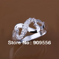 Min.order $10 (mix order) free shipping! high quality! 925 Silver Ring,fashion Silver rings,925 silver crystal jewelry R049