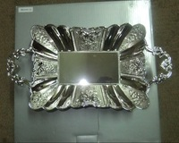 Free shipping silver plated rectangular metal zinc alloy fruit tray/fruit plate