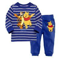 2014 wholesale baby boys pyjama, long sleeve blue striped pajamas kids suit pijamas kids sets