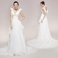 Original design V-neck beading pleated wedding dress free shipping 2013 new style wholesale