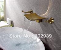 Free shipping polished gold  wall mounted watefall sink/ Bathtub  faucet