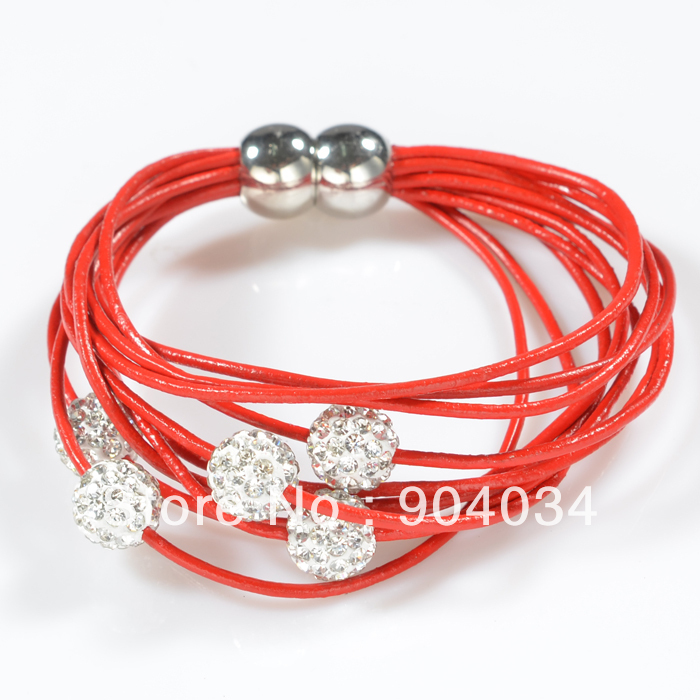 2013 Red Leather Bracelets Jewelry Wholesale with Crystal Beads China Yiwu Factory Price Free Shipping(China (Mainland))