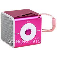 2013 cheap mini speaker support u disk micro sd DS-520 High Fidelity Mini Digital Media Speaker Stereo Music Box - Pink,Silver