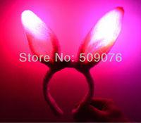 Free shipping 48pcs/lot pink flashing light led bunny ears novelty decoration led flashing party decoration rabbit head horn