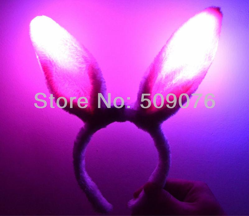 Free shipping 500pcs/lot pink flashing light led bunny ear furry flashing bunny ears hair ornament(China (Mainland))