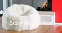 Free shipping faux fur long hair elegant beanbag lounger, HIGH QUALITY LEVEL bean bag cushion, lazy bean bag chair, relax seat