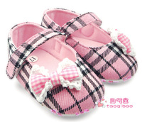 Plaid fashion baby shoes princess shoes toddler shoes soft outsole bow baby single shoes 0-1 female child