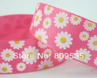 """HOT~Free Shipping 50 Yards 1""""(25mm) Chrysanthemum Pattern Grosgrain Ribbon For Scrapbooking"""